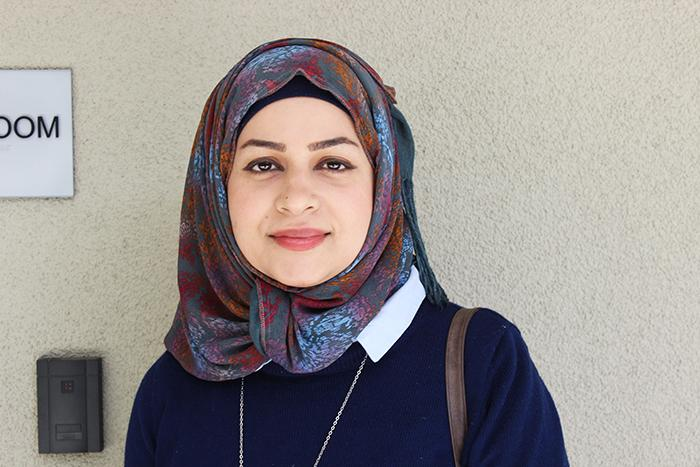 American River College student Sarah Musawi is a Muslim who wears the traditional hijab. Musawi expressed concern regarding not knowing her rights and not knowing what protection ARC offers. The most recent ban would have included the countries  Iran, Libya, Somalia, Sudan, Syria and Yemen. (Photo by Solange Echverria)