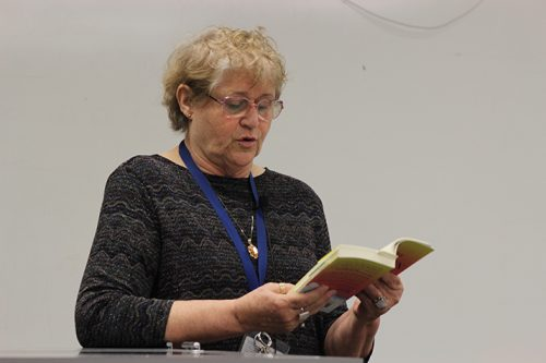 "Author and ARC English professor, Lois Ann Abraham reads a passage from her novel ""Tina Goes to Heaven during a College Hour speech on March 9, in Raef Hall room 120. Abraham has been published twice before both works by ARC's publication Ad Lumen Press. (Photo by Mack Ervin III)"