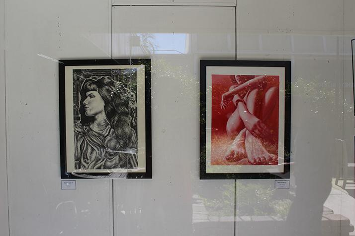 Diana Ormanzhi's artwork hanging in the shadow box.  Photo by T.J. Martinez