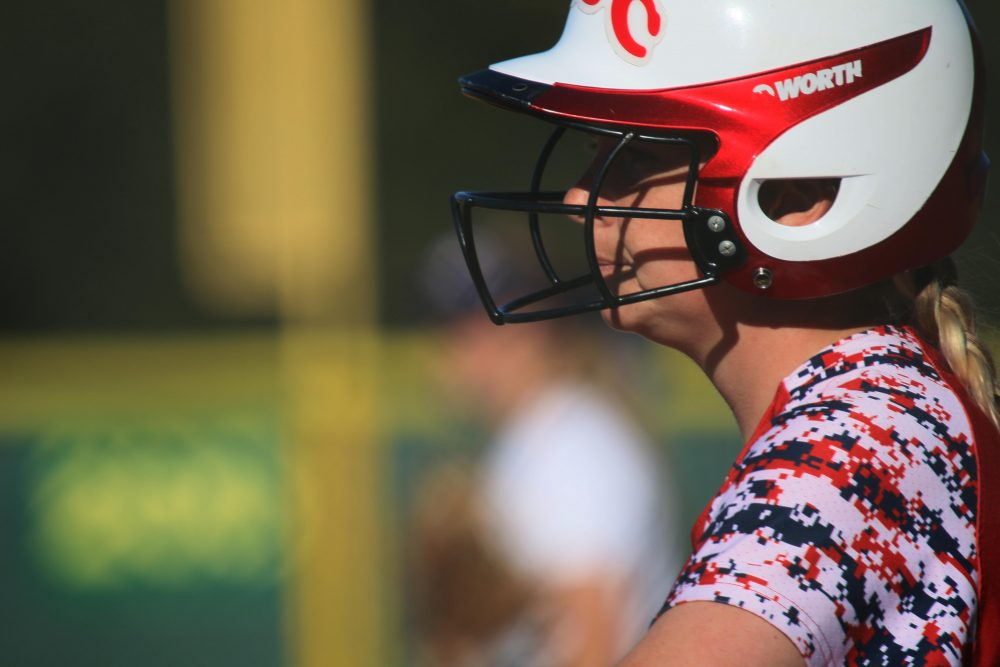 Santa Rosa Junior College softball teammate looks out into the field. (photo gallery by Lidiya Grib)