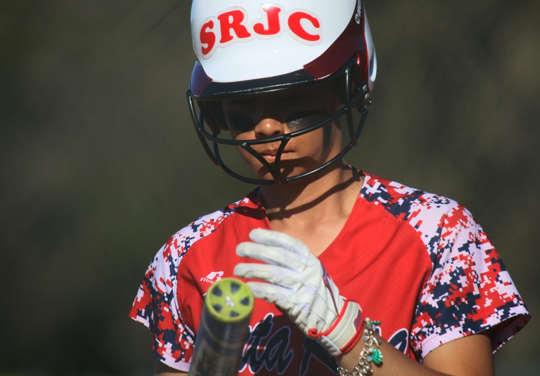 Santa Rosa softball batter stands on the field. (Photo Gallery by Lidiya Grib)