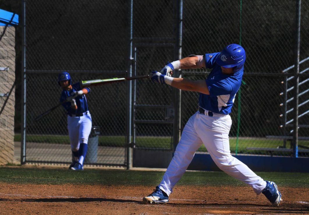 Solano College baseball batter hits the ball.