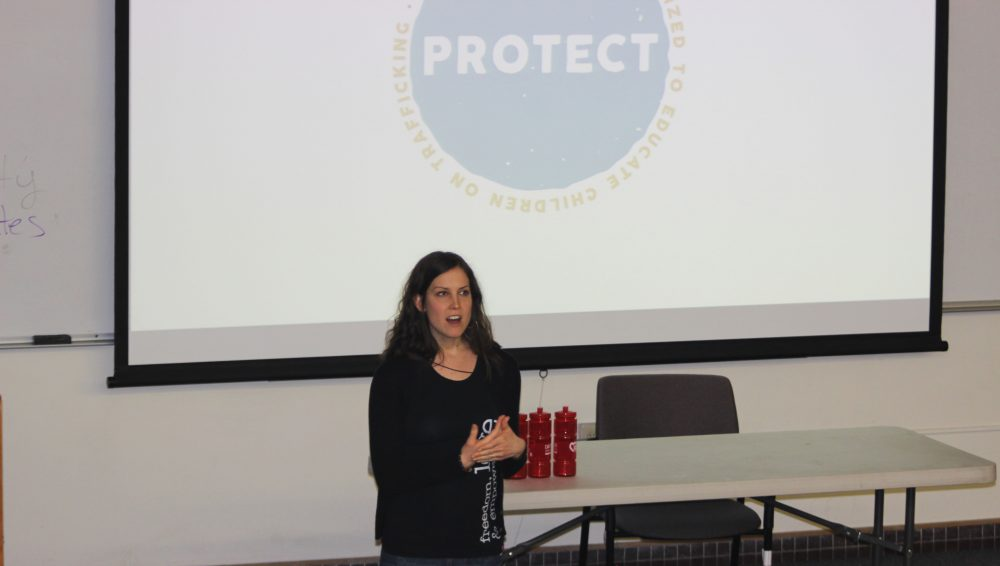 Sarah Bond from 3 Strands Global discusses human trafficking during ARC's College Hour. (Photo by John Ennis)
