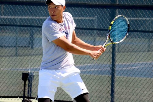 Tam Duong is a sophomore tennis player for the American River College men's tennis team. He along with his teammates played against De Anza College. (photo by Mychael Jones)