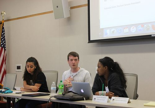 Student Senate Vice President Alejandra Hilbert, CAEB President Justin Nicholson and Student Senate President Valencia Scott at the April 20, 2017 Student Senate meeting.
