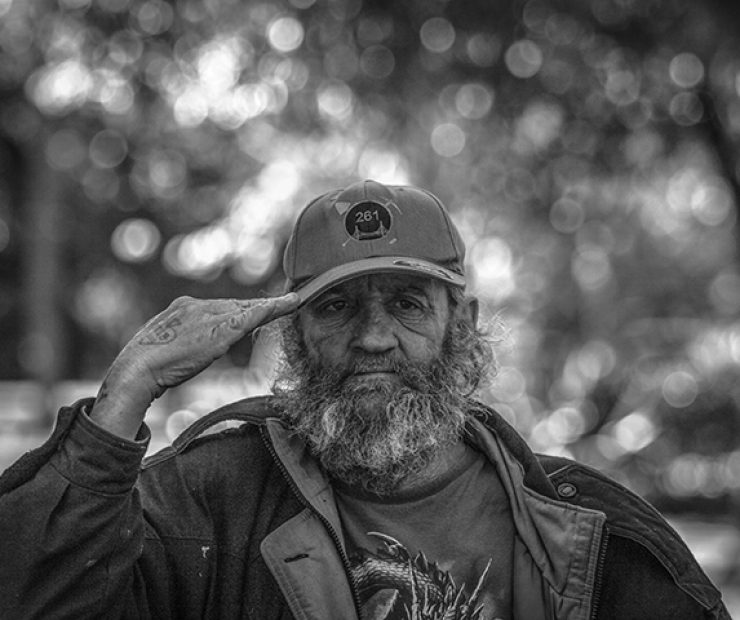 Larry Gene King salutes the California Vietnam Veterans Memorial at the state capitol on March 31 in Sacramento, California. King served as a Unites States Marine from 1969-74. (Photo by Luis Gael Jimenez)