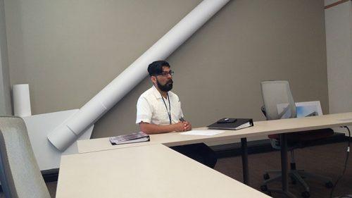 Student Senate Adviser Juan Blanco at the May 4, 2017 CAEB meeting. (Photo by John Ennis)