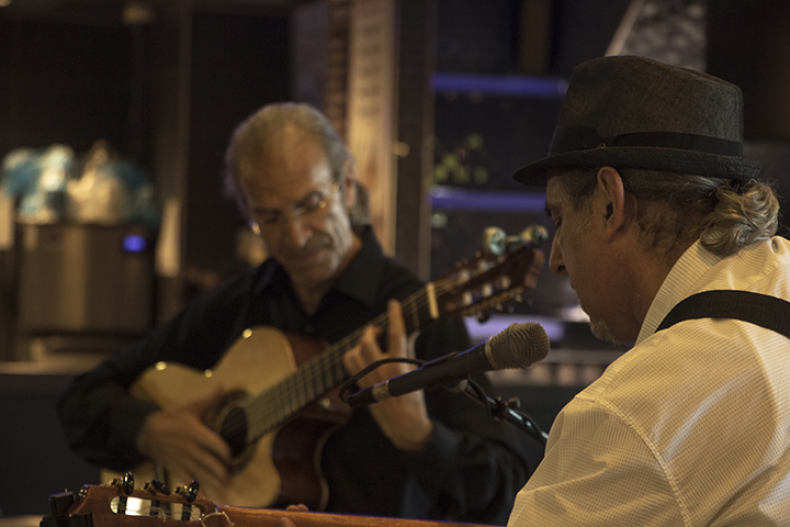 Flamenco guitarists Roberto Corrias (left) and Jose Blanco perform at the Koreana Plaza International Market on April 29 in Sacramento, California. (Photo by Luis Gael Jimenez)
