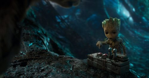 Baby Groot messing with a bomb detonator. (courtesy of IMDB)