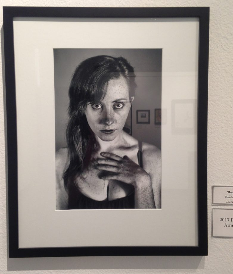"Inked print ""Megan"" by artist Rene Grajeda, who won the 2017 photo award. (Photo by Lidiya Grib)"