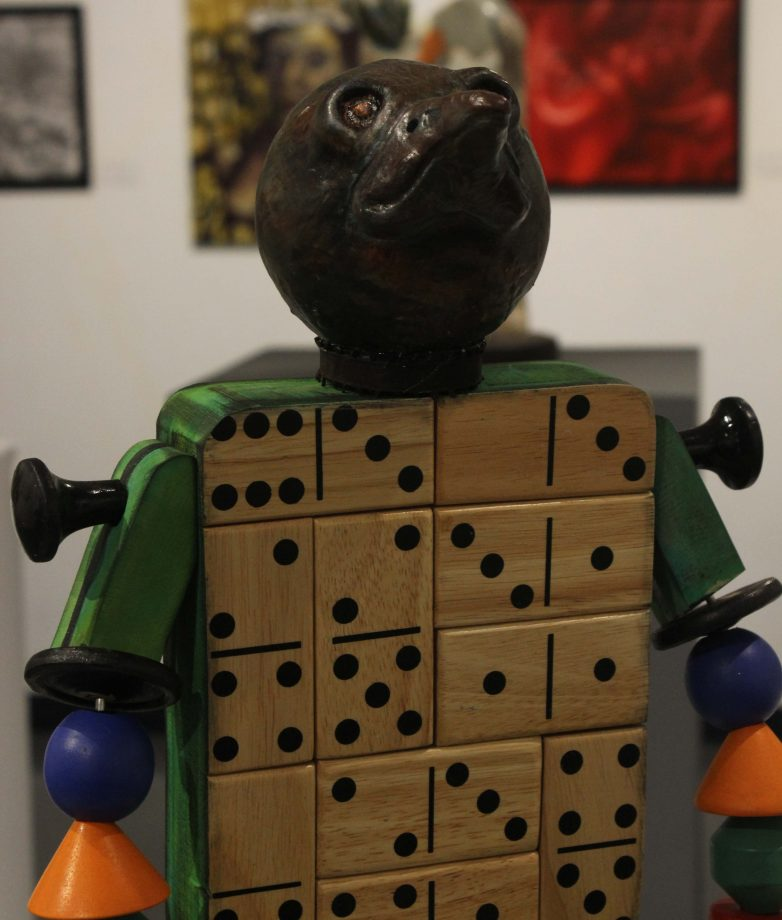 Wood and clay piece by Janet L. Paluch in the Kaneko Gallery. (photo by Lidiya Grib)