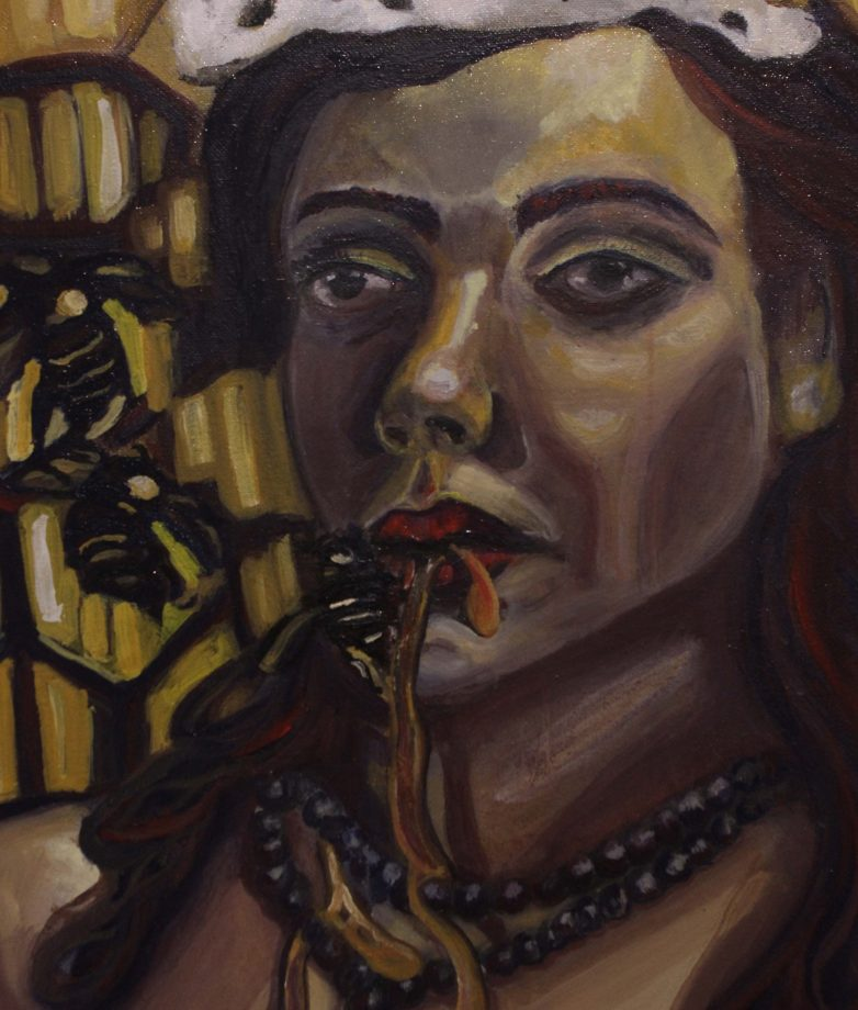 "ARC student, Millissa Sadler, submitted her oil paint drawing ""Hive (Queen Bee)"" for the student competition exhibition.(photo by Lidiya Grib)"