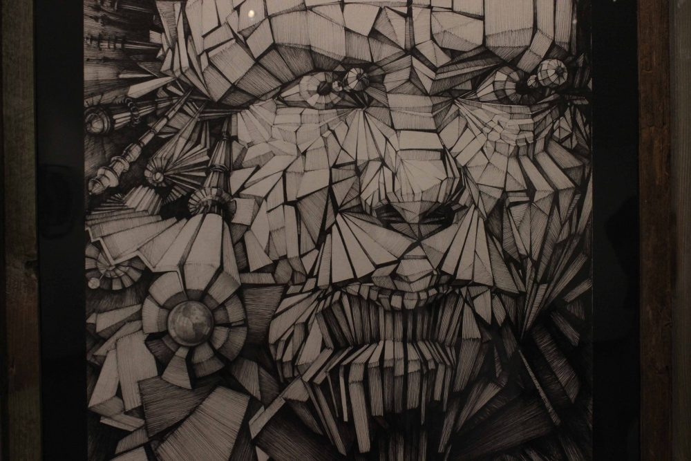 Art+work+%22Prejudice%22+drawn+by+artist+Mehrshad+Khalili+with+pen%2C+displayed+in+the+Kaneko+Gallery+through+May+10.+%28photo+by+Lidiya+Grib%29