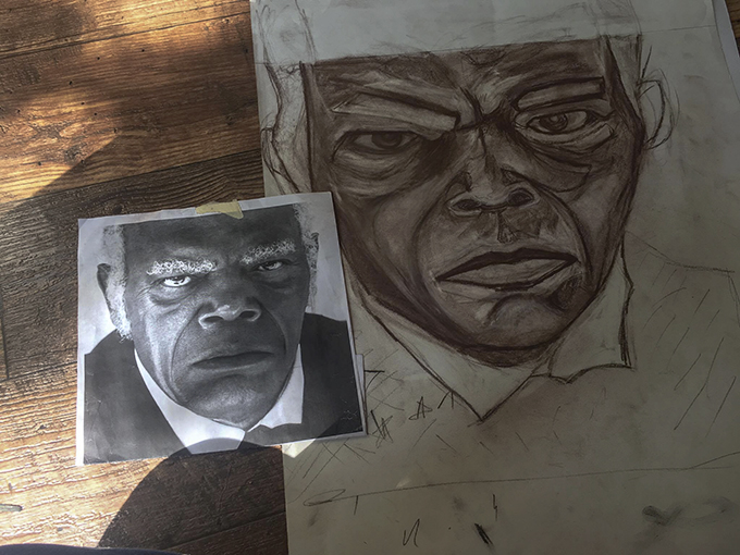 A portrait of Samuel L. Jackson by Art Club President Blanca Bastida. (Photo courtesy of Blanca Bastida)