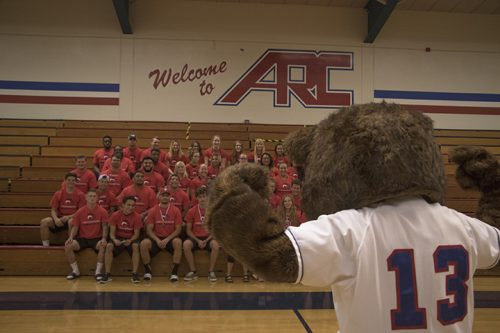 Bucky the Beaver poses in front of the student athletes who received a GPA of 4.0 at American River College during an athletic preview event on Aug. 25, 2017. (Photo by Luis Gael Jimenez)