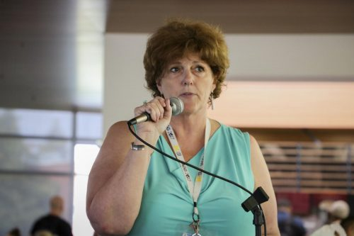 Professor Karla Gustafson gives a speech explaining the importance of the Gerontology Department at American River College on Sept. 9, 2017. (Photo by Ashley Hayes-Stone)