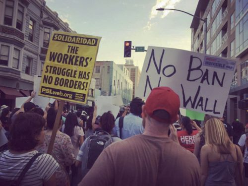 """Anti-DACA protesters gather in downtown Sacramento on Sept. 6, 2017 to voice their support for """"Dreamers."""" (Photo courtesy of Grace Loescher)"""