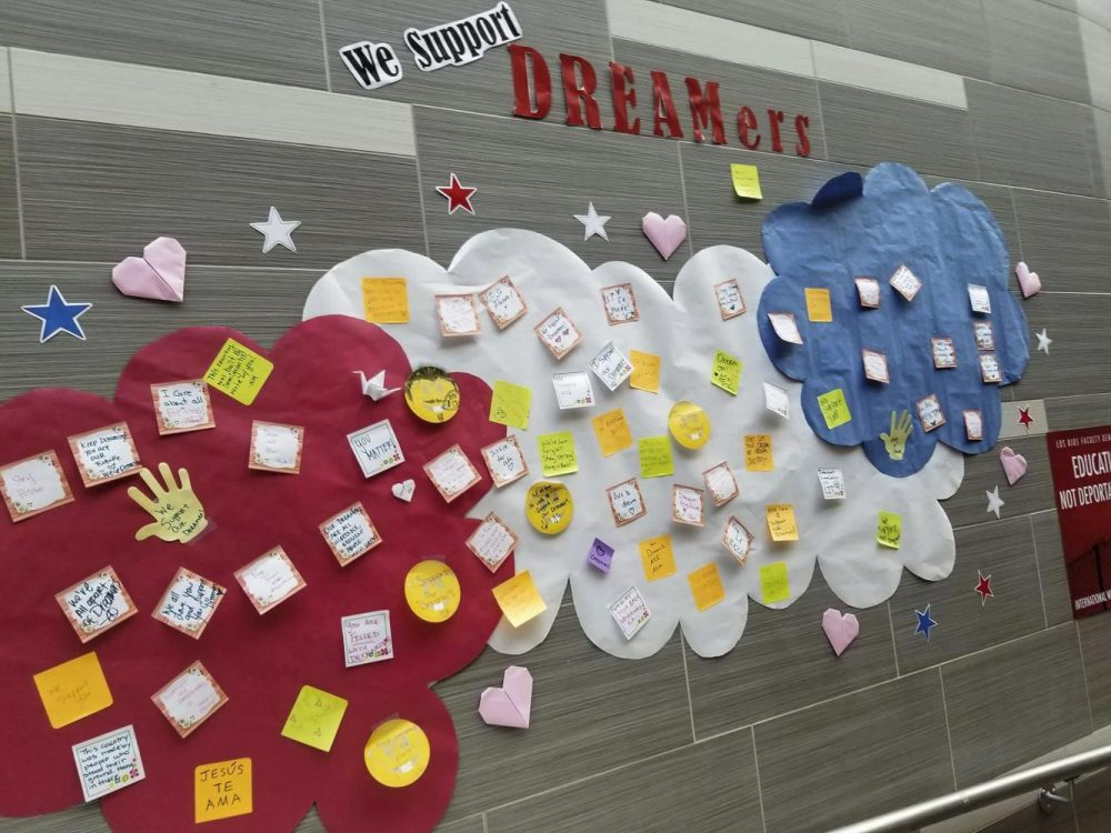A+wall+decorated+with+statements+of+support+for+%22Dreamers%22+in+the+Student+Center+at+American+River+College.+%28Photo+by+Hannah+Yates%29