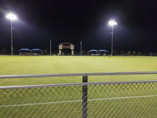The soccer field at American River College during halftime on Sept. 15. (Photo by Hannah Yates)