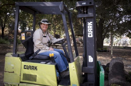 Brenda Baker drives a forklift in the Horticulture Department at American River College on Oct.10, 2017. (Photo by Ashley Hayes-Stone)