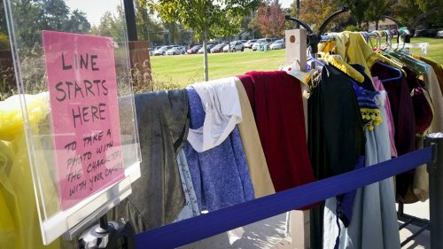 A rack full of costumes and props stand outside the theatre department at American River College on Oct. 18.( Photo by Ashley Hayes-Stone)