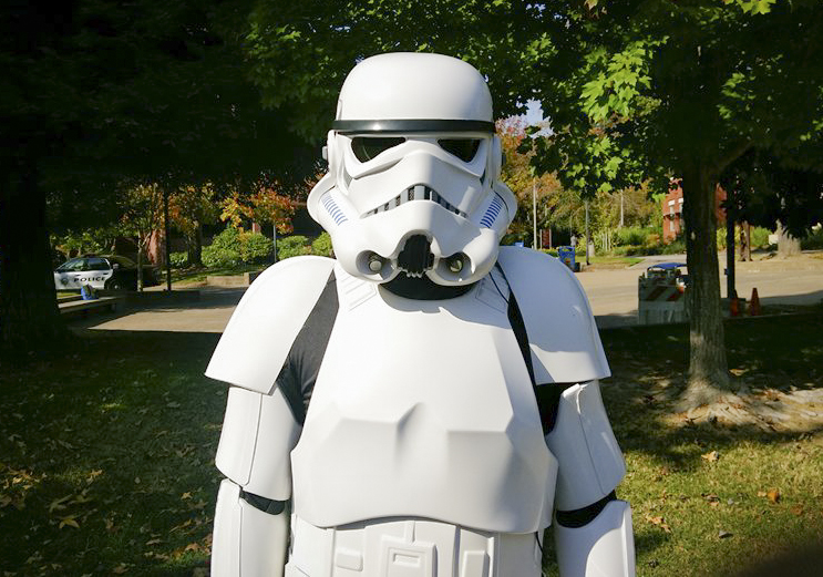 Dylan Blankenship poses as stormtrooper TK-412 at American River College on Oct. 31. (Photo by Brienna Edwards)