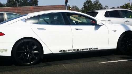 The ARC Auto Motive Department recently acquired a Tresla Model S though left over grant money. (Photo by John Ennis)