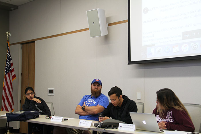 Student Senate Lidia Lara, Student Senate Vice President Earl Crouchley III, Director of Finance Jesse Taylor and Student Senate President Deborah Hernandez at the October 12, 2017 Student Senate meeting. (Photo by John Ennis)