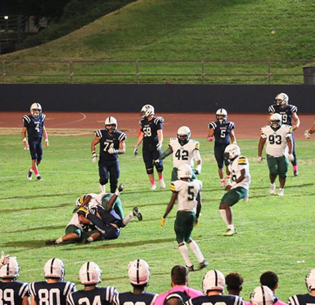 The American River College Beavers defeated the Feather River Golden Eagles 59-8 on October 28, 2017. (Photo by John Ennis)