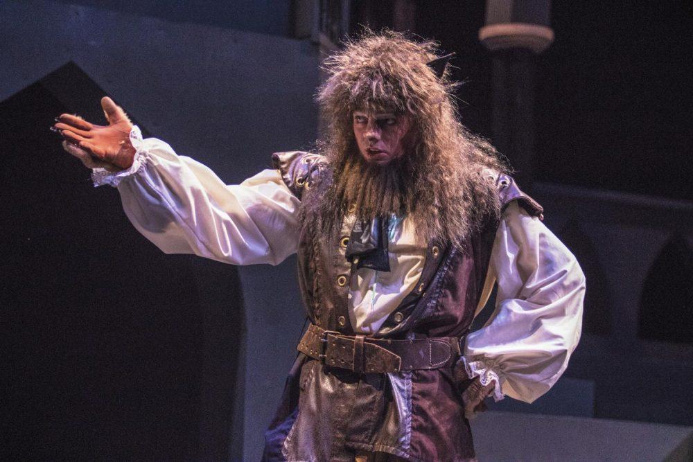 Actor Branden Price runs through a scene during a rehearsal of