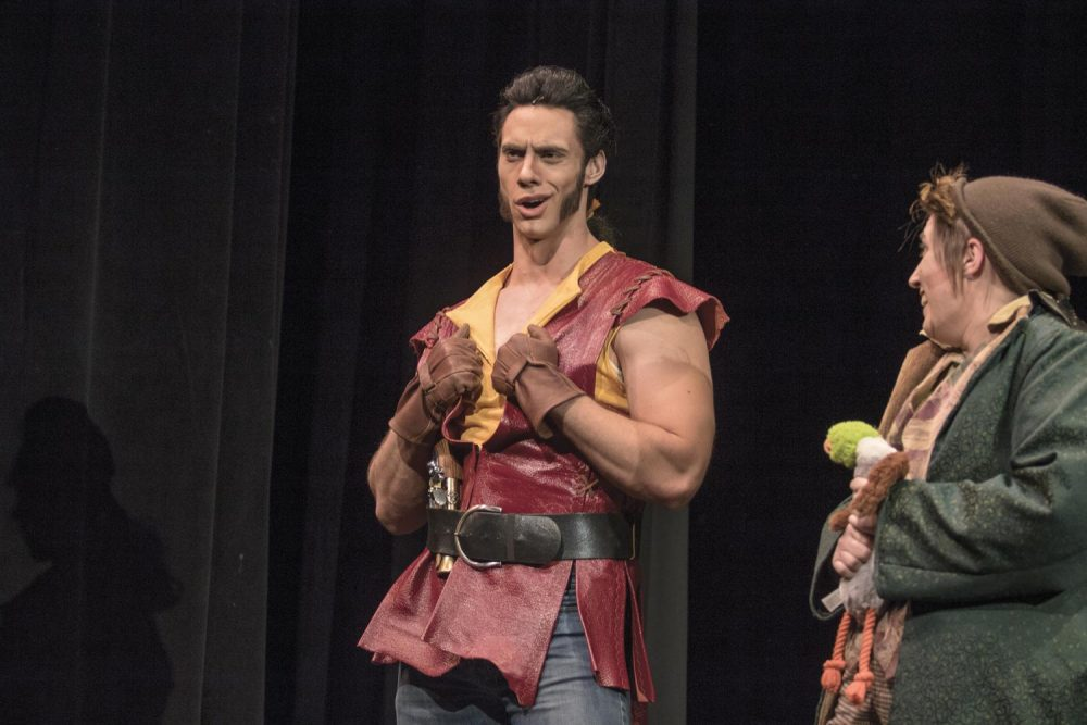 Chris Sharpe (left) stands on stage with Jareth Ryford during a rehearsal for American River College's production of