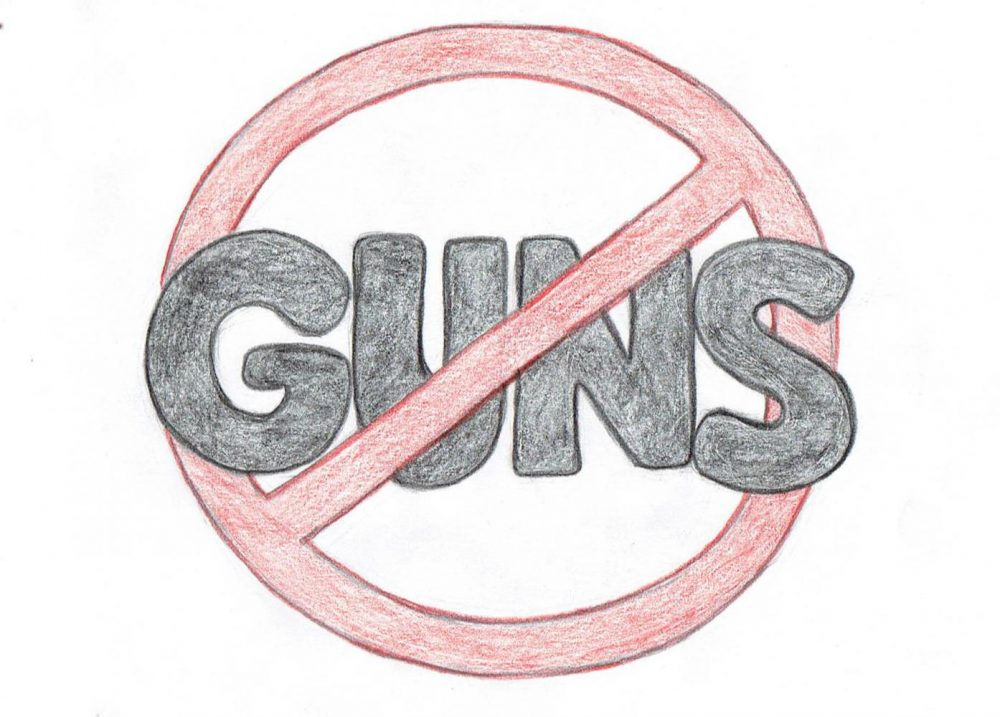 It is time right now yo push for stricter gun control in the United States. (Illustration by Hannah Yates)