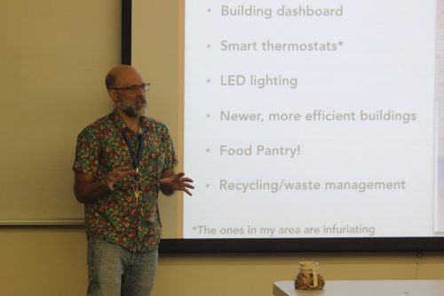 Geology Professor Glenn Jaecks delivers a speech on climate change during a college hour on Nov. 16. (Photo by John Ennis)