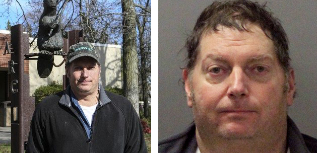 (Left) Tracy Mapes' staff photo from his time on the AR Current in the spring of 2016. (File photo)  (Right) Tracy Mapes' mugshot at the Santa Clara Police Department on Nov. 26 after being arrested for allegedly dropping anti-media leaflets over Levi Stadium. (Photo courtesy of Santa Clara Police Department)