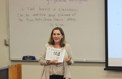 Interim Dean of Undergraduate Education at Chico State, Kate McCarthy, lecturing on religion in Twenty-First Century America during College Hour on November 2, 2017. (Photo by John Ennis)