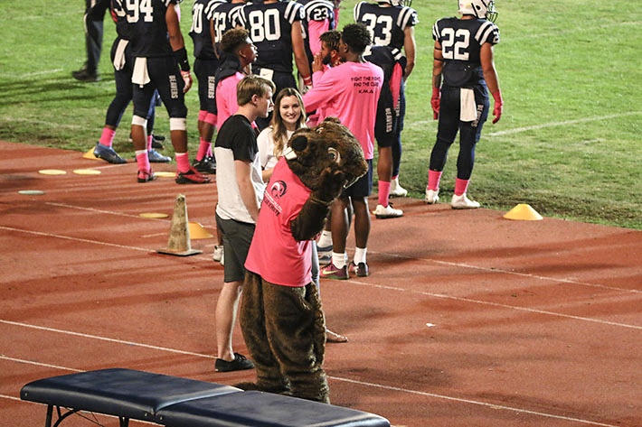 American River College mascot Bucky the Beaver on the sideline during a game versus the Feather River Golden Eagles on October 28, 2017. (Photo by John Ennis)