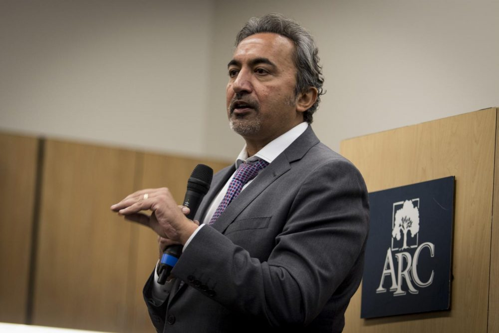 Congressman Ami Bera speaks at American River College on Nov. 20. (Photo by Ashley Hayes-Stone)