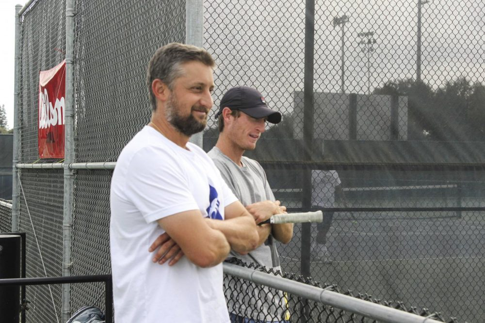 Coach+Bo+Jabery-Madison+%28left%29+oversees+a+tennis+practice+at+American+River+College.+%28Photo+by+Lily+Rodriguez+Drake%29
