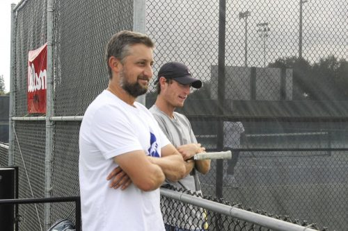 Coach Bo Jabery-Madison (left) oversees a tennis practice at American River College. (Photo by Lily Rodriguez Drake)