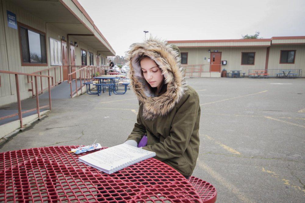 Nursing major Viktoria Biliak studies her notes at American River College on Jan. 29 in Sacramento, California. (photo by Alexus Hurtado)