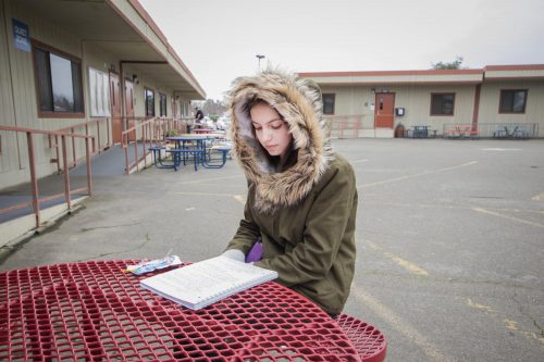 Nursing major Viktoria Biliak studies her notes at American River College on Jan. 29 in Sacramento, California. (photo by Alexus Hurtado)