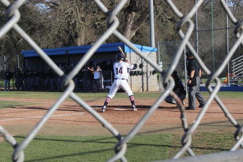 American River College 2B Matt Clarke steps up to the plate during a game against Shasta College on Feb. 1 at ARC. ARC lost 9-0. (Photo by Gabe Carlos)