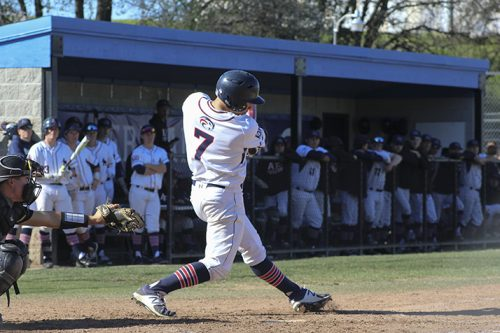 American River College right fielder Blake Spencer swings at a ball during a game against Butte College on Feb. 16 at ARC. ARC won 4-1. (Photo by Mack Ervin III)
