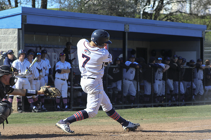 American+River+College+right+fielder+Blake+Spencer+swings+at+a+ball+during+a+game+against+Butte+College+on+Feb.+16+at+ARC.+ARC+won+4-1.+%28Photo+by+Mack+Ervin+III%29