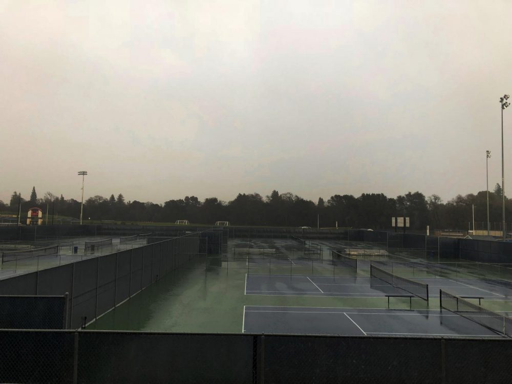 Grey skies looms over the tennis courts at American River College on Feb. 26. (Photo by Alonda Botello)