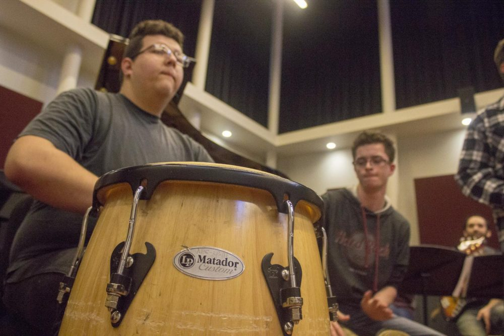 Members of the American River College Latin Jazz Ensemble rehearse in preparation for an upcoming concert. (Photo by Michael Pacheco)