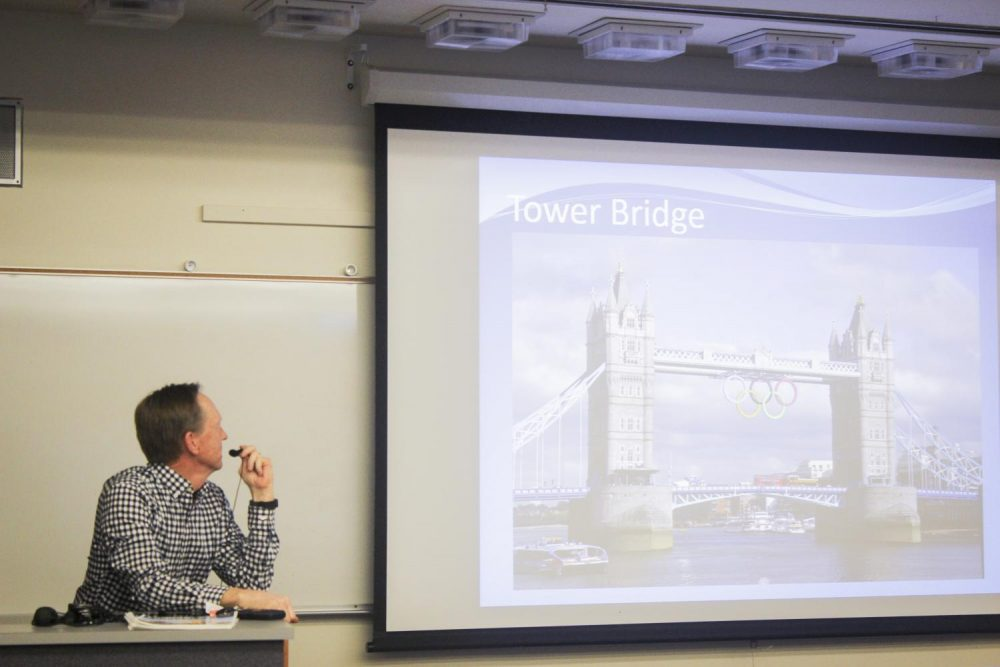 Psychology professor Mark Stewart presents to the audience about studying abroad in London during summer of 2018 at American River College on Feb. 1 in Sacramento, California. (Photo by Alondra Botello)