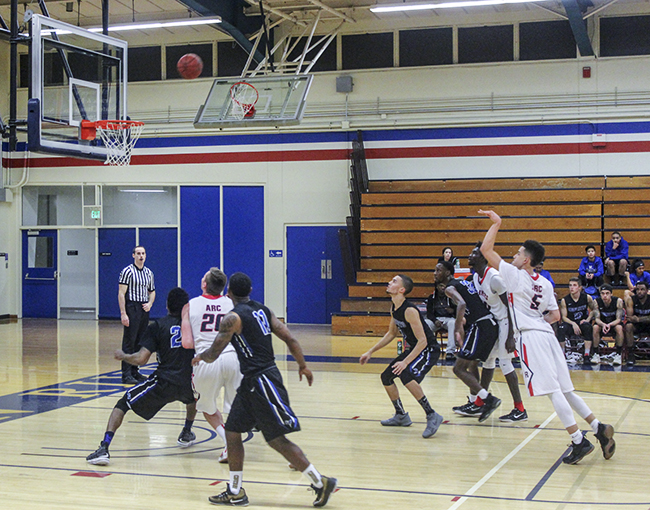 American River College guard Lawerence Smith shoots a free throw during a game against Modesto on Feb. 9. ARC lost 78-75. (Photo by Alondra Botello)