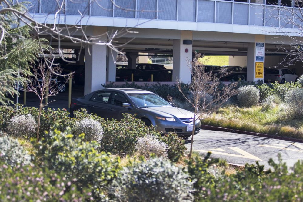A car exits the parking garage at American River College on Feb.  15. (Photo by Brienna Edwards)