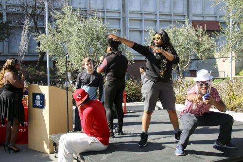 Clubs face-off in lip sync battle on Welcome Day on Feb. 8,2018. Welcome Day offered new and returning students information and goods from different departments, clubs and vendors. (Photo by Jennah Booth)